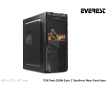 Everest 721K Peak-250W Siyah 2*Sata Mesh Metal Panel Kasa