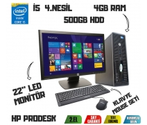 HP PRODESK G1 i5-4570 CPU+500GB HDD+4GB RAM + 22'' LED MONİTÖR