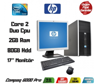 HP Compaq 6000Pro Core2 Duo 3.0GHz 2GB Ram 80GB Hdd 17'' Monitör