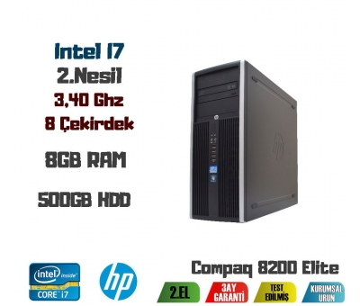 HP Compaq 8200 İntel Core İ7-2600 CPU + 8GB RAM + 500GB HDD Kasa