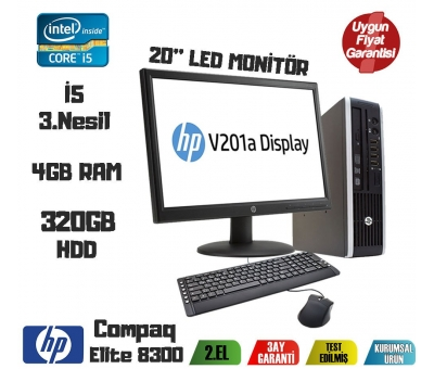HP Compaq Elite 8300 Ultra Slim i5-3470 4GB RAM 320GB HDD 20'' Monitör