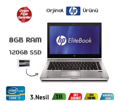 HP ELITEBOOK 8470P İntel Core i7-3540M 8GB 120GB SSD Notebook
