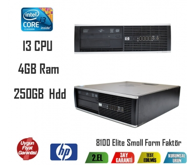 Hp 8100 Elite Form Factor İ3 CPU 4GB RAM 250GB HDD Masaüstü PC