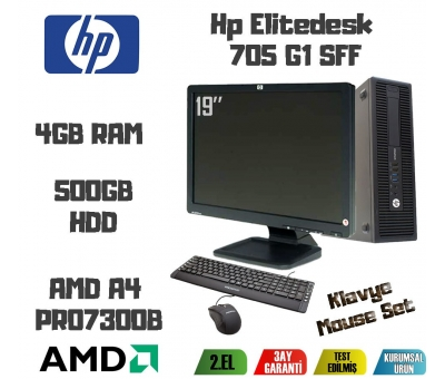 Hp Elitedesk 705G1 AMD A4 PRO 7300B CPU+4GB RAM+500GB HDD 19 İNC