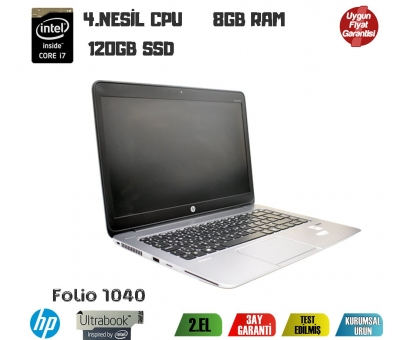 Hp Ultrabook Folio 1040 İ7 4.Nesil 8GB RAM 120GB SSD Notebook