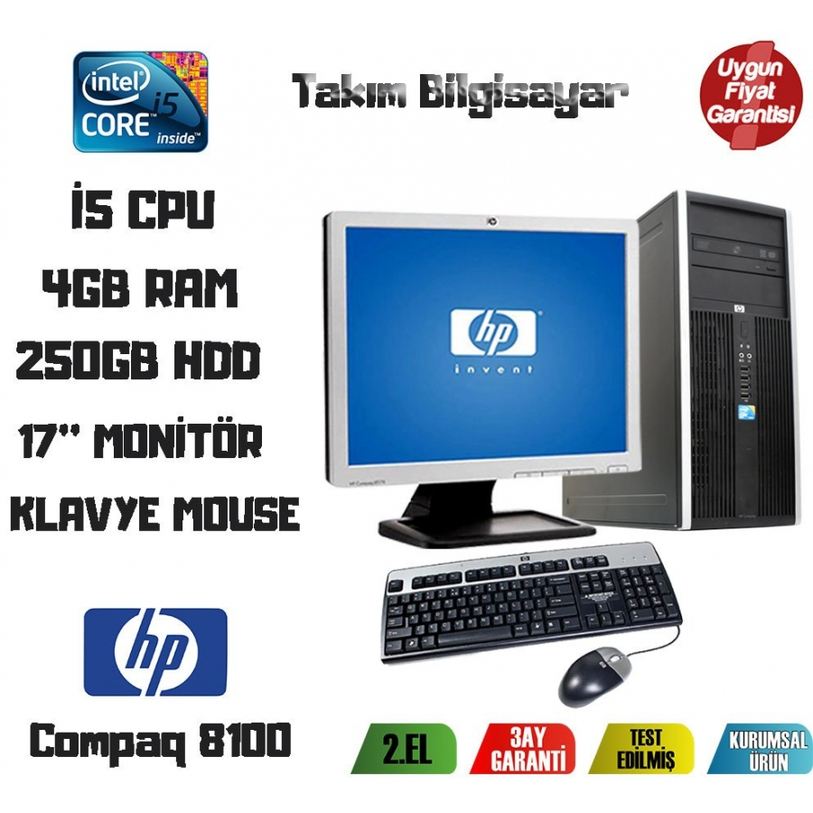 e35c6974eeeba HP Compaq Elite 8100 İ5 CPU + 4GB RAM + 250GB HDD 17'' Monitör En ...
